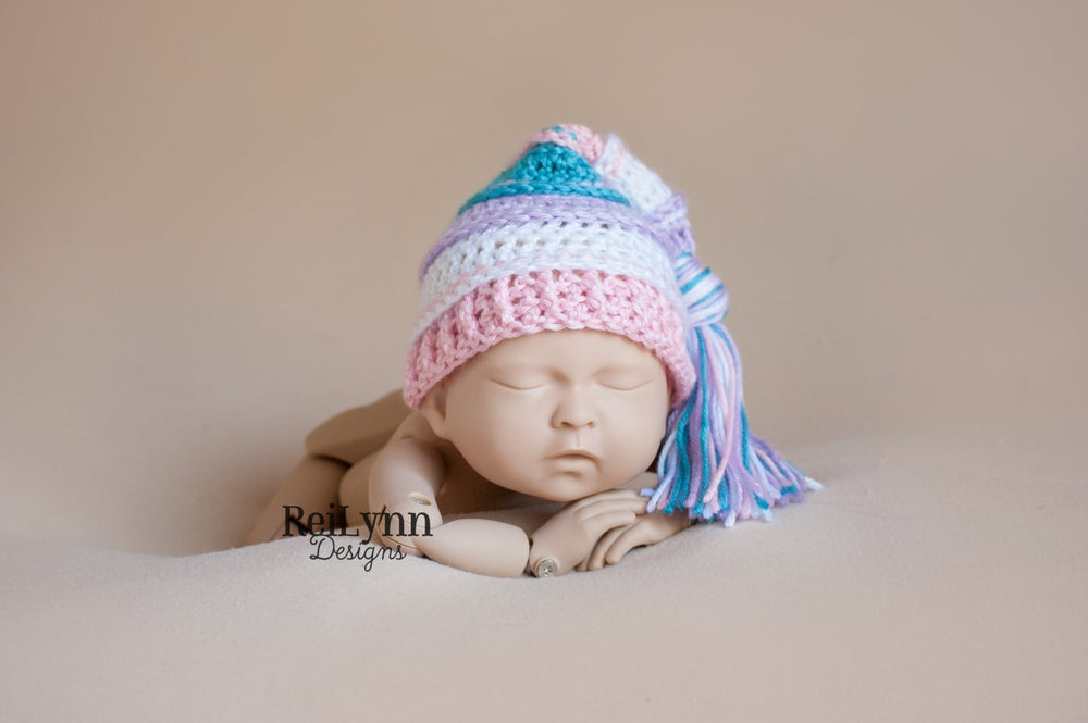 Image of Lavender, White, Pink and Turquoise Tassel Hat