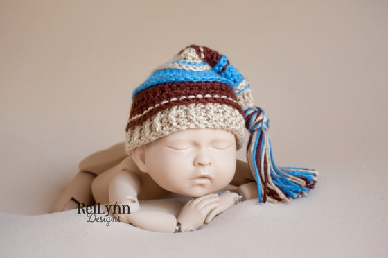Image of Bone, Blue and Brown Tassel Hat
