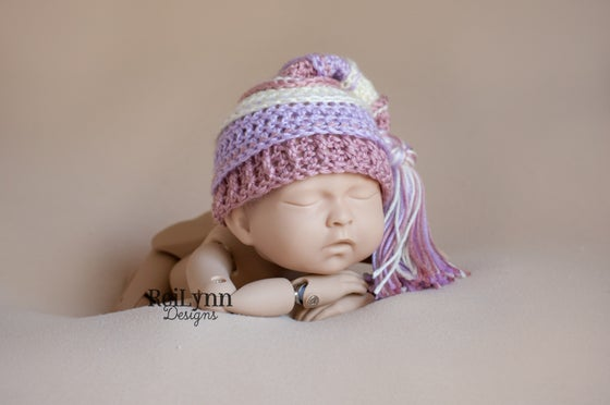Image of Dark Blush, Ivory, Lavender Tassel Hat