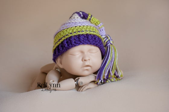 Image of Lavender, Chartreuse, Purple and Beige Tassel Hat