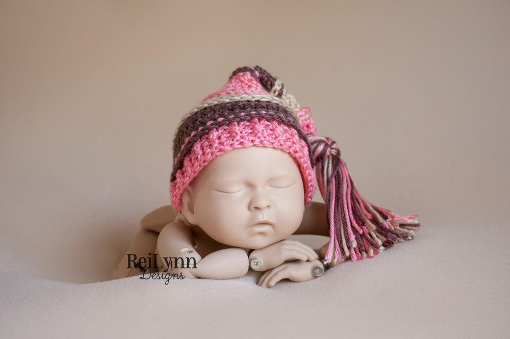 Image of Coral, Bone, Taupe Tassel Hat