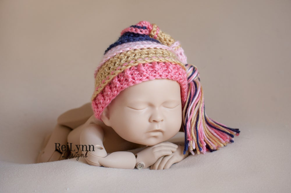 Image of Pink, Gold, Coral and Navy Tassel Hat