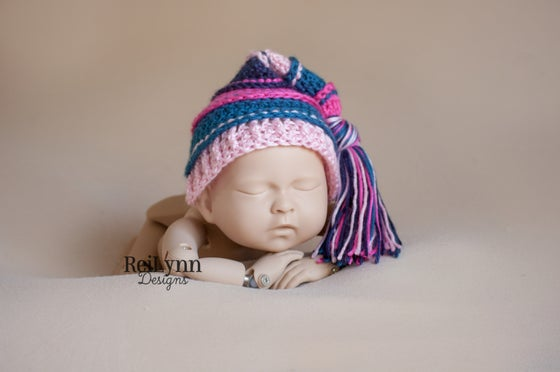 Image of Hot Pink, Ocean, Pink and Navy Tassel Hat
