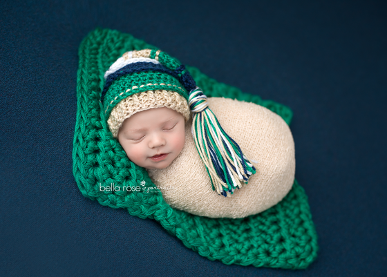 Image of Navy, Emerald, Gold and Mint Tassel Hat
