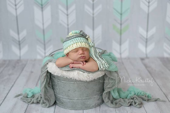 Image of Ivory, Gray, Mint Tassel Hat