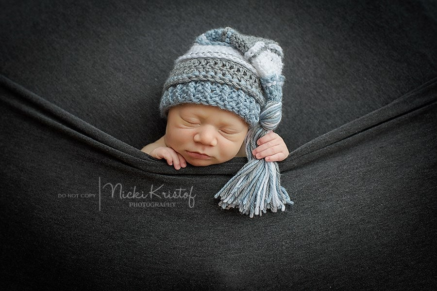 Image of Light Country Blue, White and Gray Tassel Hat