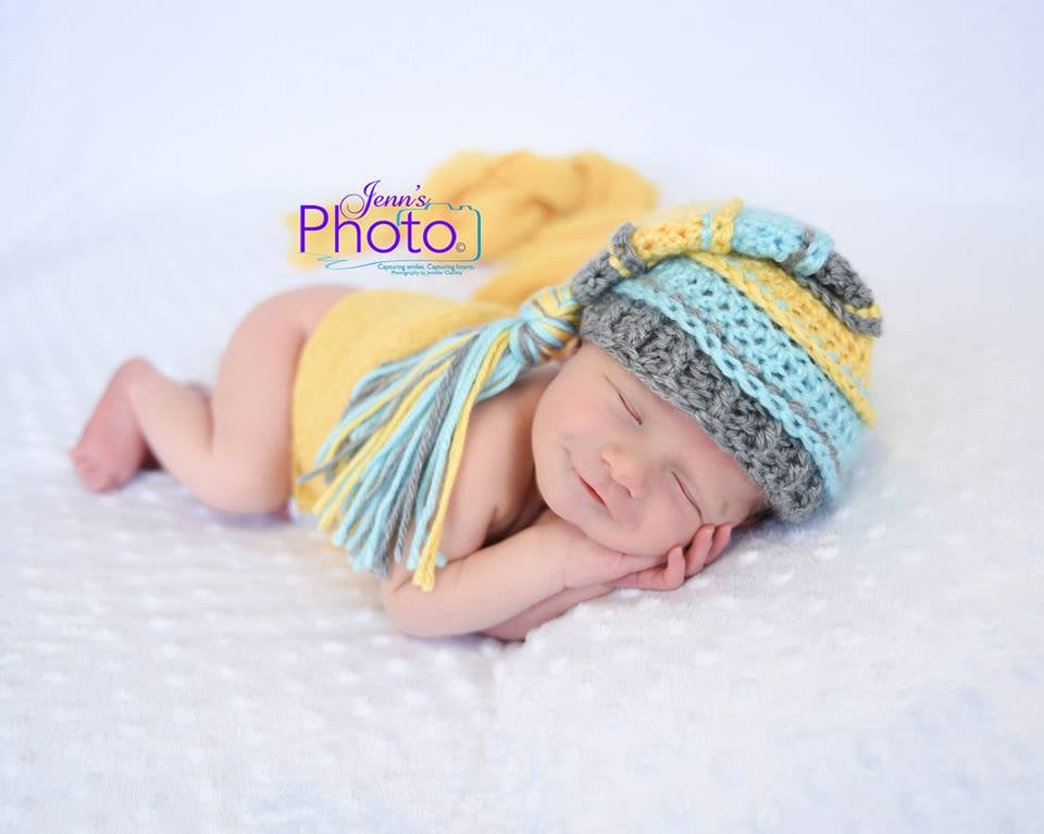 Image of Gray, Yellow, Aqua Tassel Hat