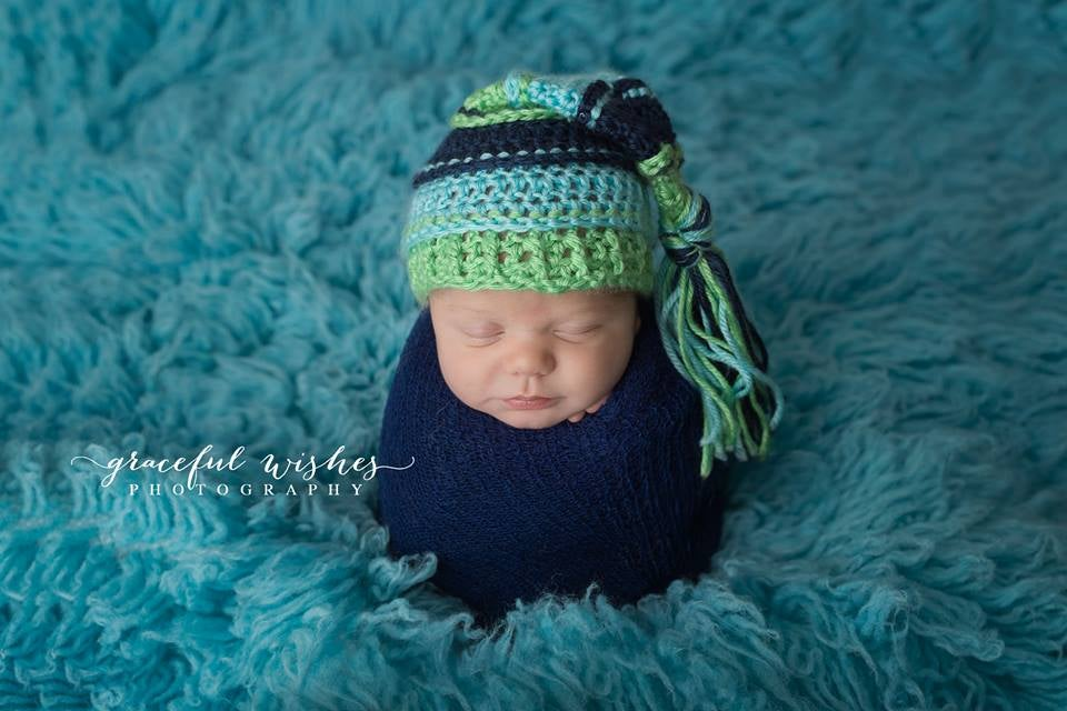 Image of Lime, Navy, Aqua Tassel Hat