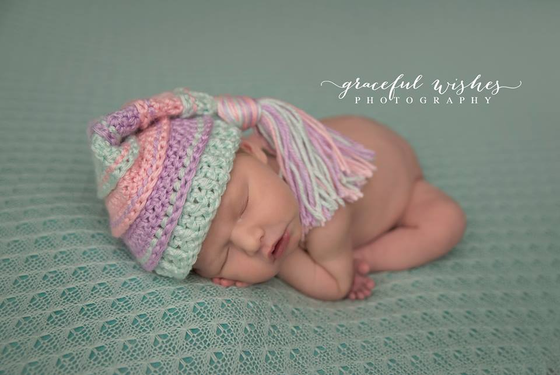 Image of Mint, Pink and Lavender Tassel Hat