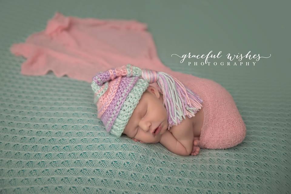 Image of Mint, Pink and Lavender Tassel Hat