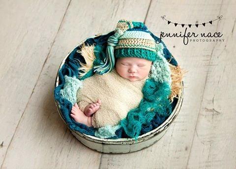 Image of Mint, Bone, Teal and Ocean Tassel Hat
