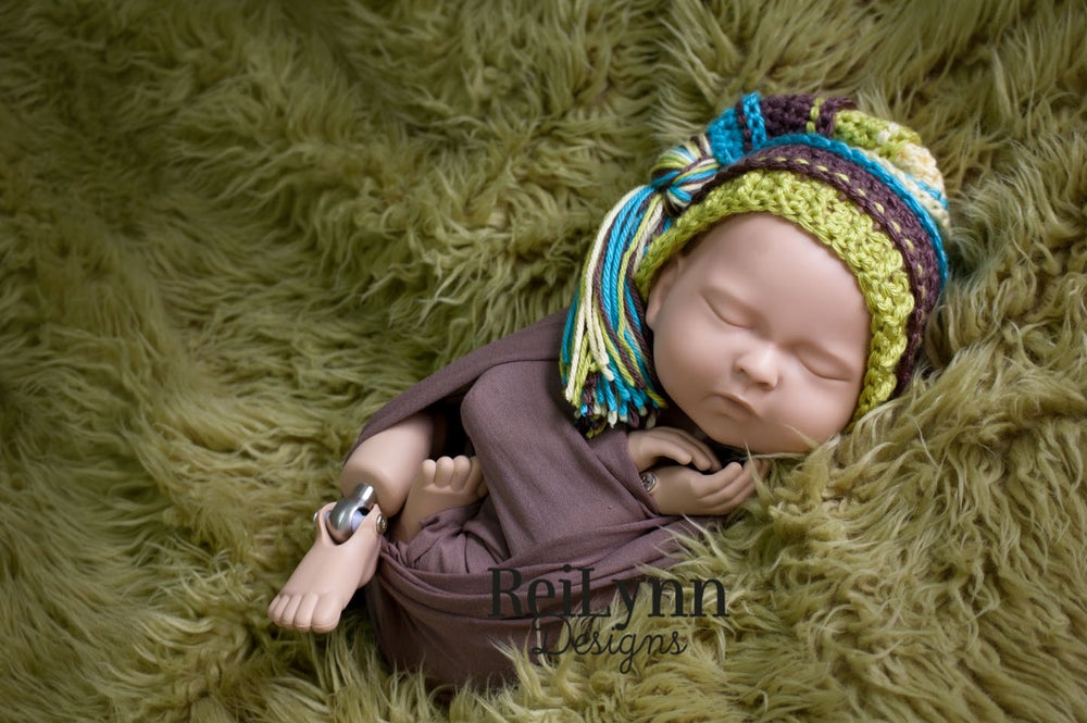 Image of Blue, Taupe, Chartreuse, Baby Maize Tassel Hat