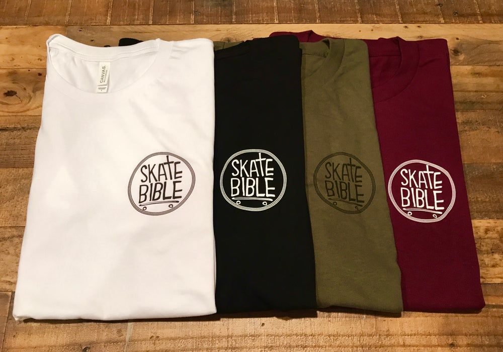"Image of ""Skate Bible"" logo t-shirts."