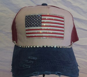 Image of Acid Washed Blue White and Red Baseball Hat with Crystal Flag