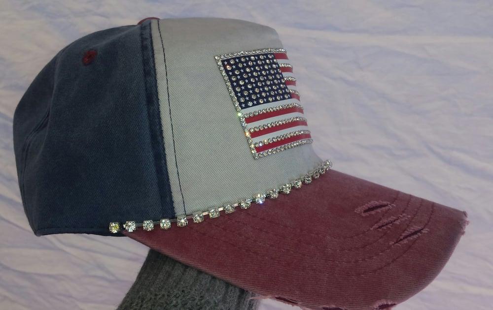 Acid Washed Red, White and Acid Washed Blue Baseball Hat Crystal American  Flag