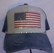 Image of Acid Washed Blue Baseball Hat with Crystal American Flag