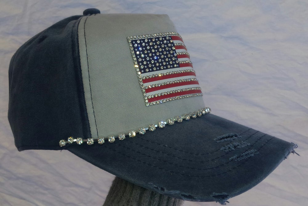 Acid Washed Blue Baseball Hat with Crystal American Flag