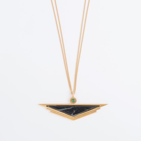 Image of Pendentif Triangle Marbre et Aventurine