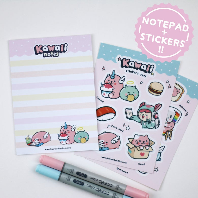 Image of Kawaii Set! Notepad + Stickers!