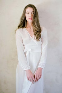 Image of Nina Silk Chiffon Wrap Robe in Ivory - style R130