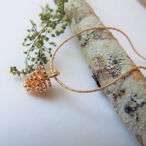 Image of Simple Gold Pine Cone Necklace (on Gold Chain)