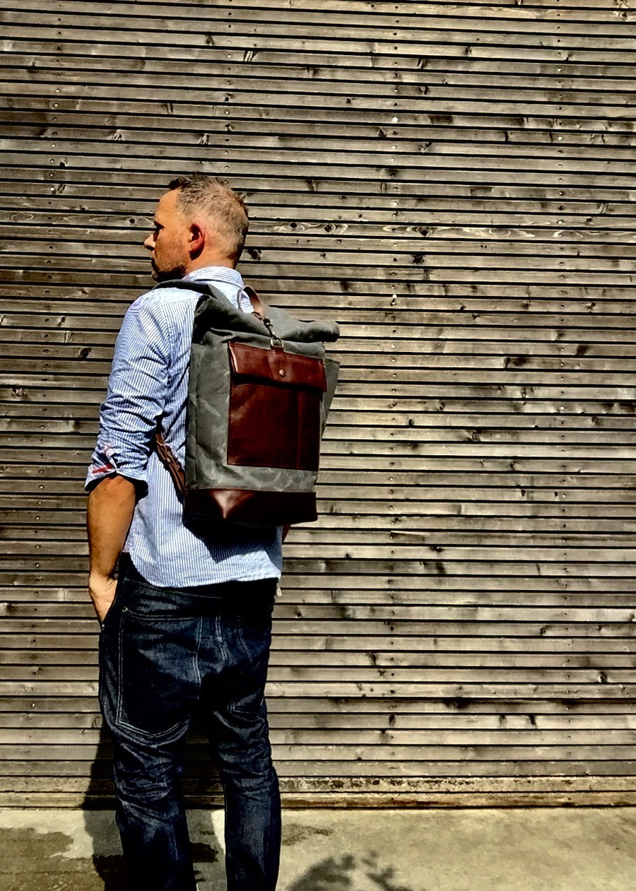 Image of Waxed canvas rucksack / backpack with roll up top and leather bottom and outside pocket COLLECTION U