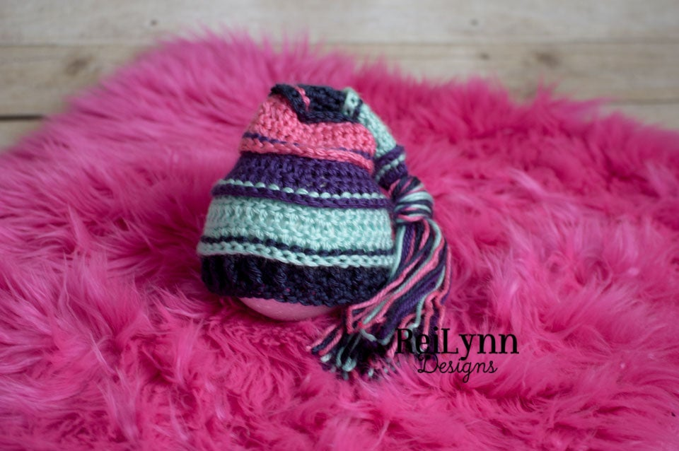 Image of Purple, Aqua, Navy, Hot Pink Tassel Hat