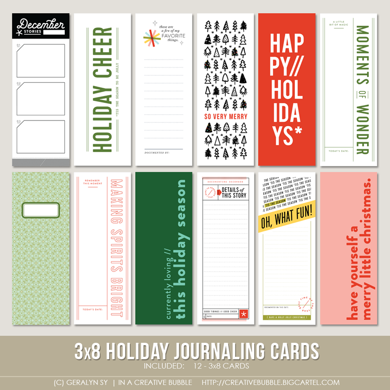 3x8 holiday journaling cards digital in a creative bubble