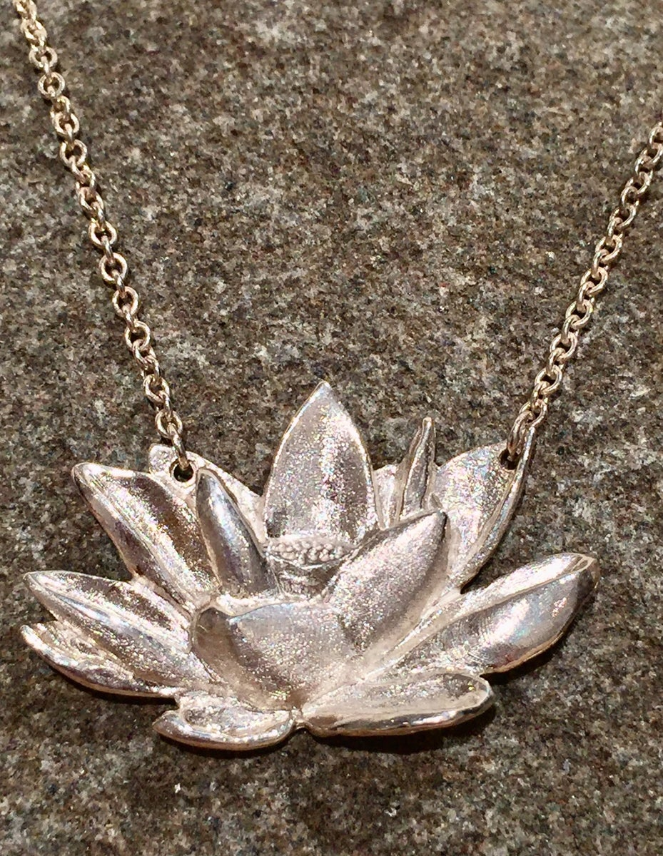 jewelry simple lotus necklace pin gold satya pendant