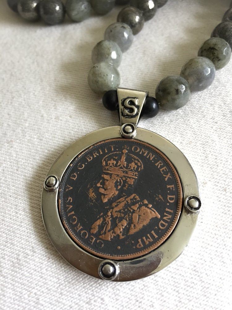 Image of AN003-Adele semi precious beads with penny pendant