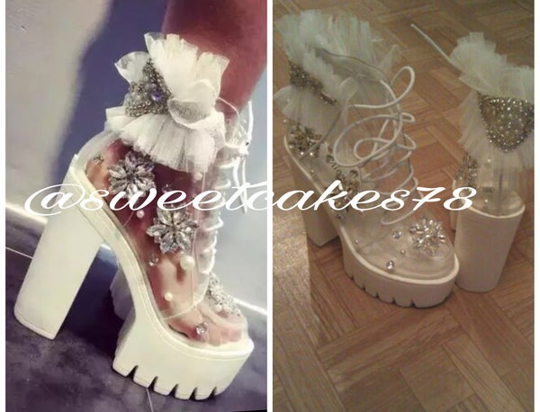 Image of Alice in the wonderland white chunky boots