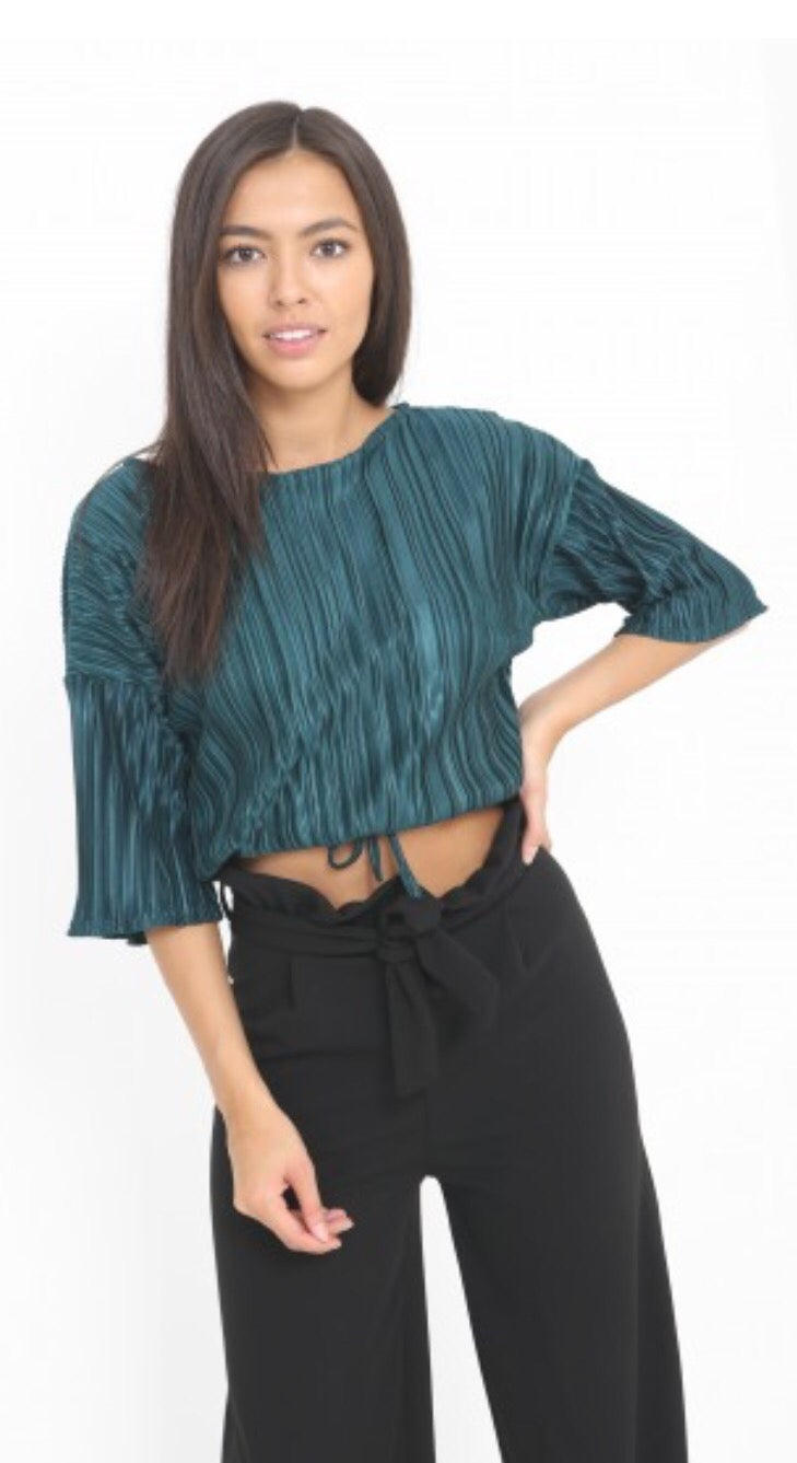 Image of Vivienne top in emerald green or black