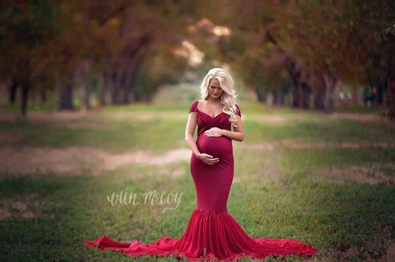 Image of Blake fitted Maternity Dress with Mermaid Chiffon Skirt