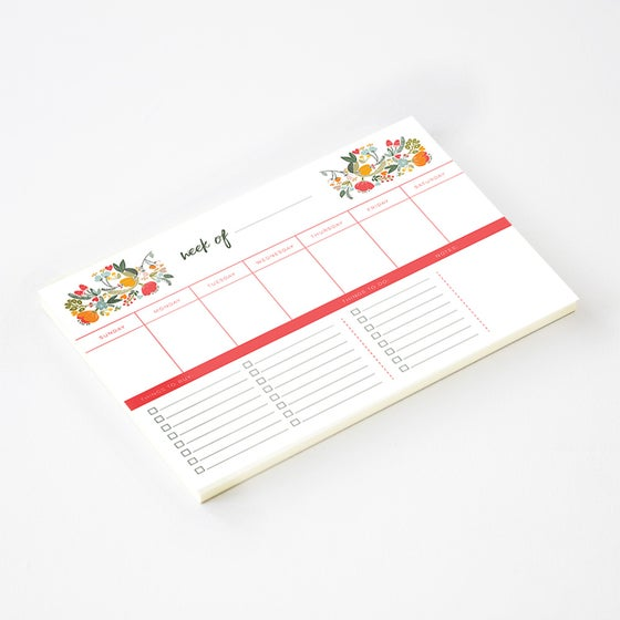 Image of WEEKLY PLANNER NOTEPAD - Floral