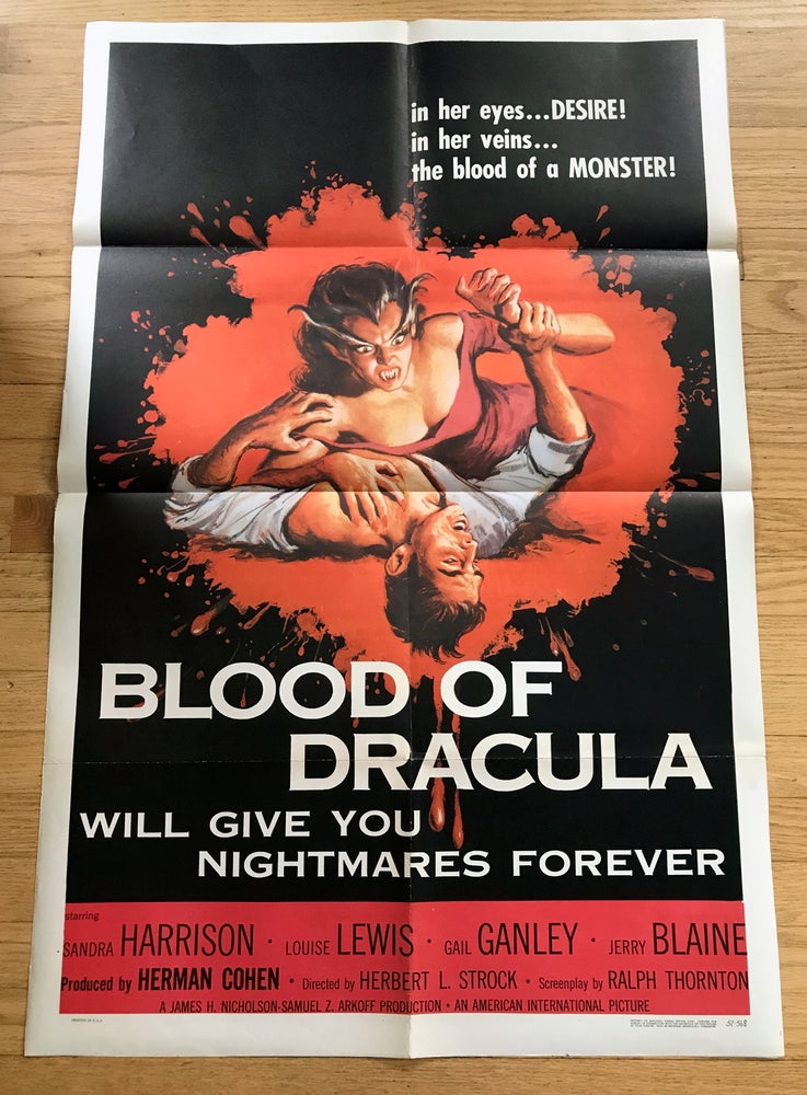 Image of 1957 THE BLOOD OF DRACULA Original U.S. One Sheet Movie Poster