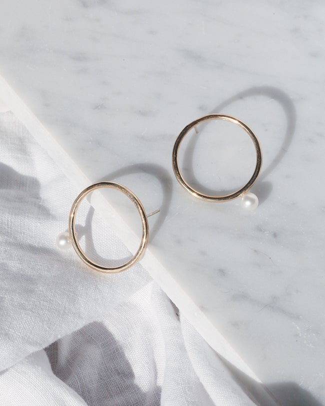 Image of Hoop Pearl Earrings