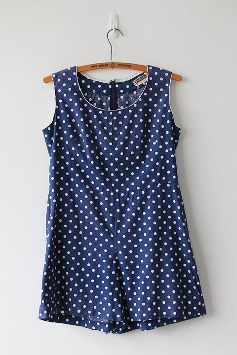 Image of SOLD Comfy Dotty Blue Romper