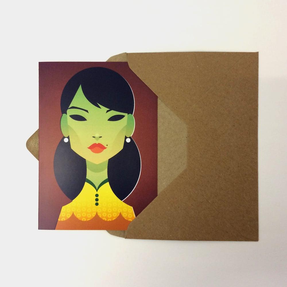 Green Lady Greeting Card