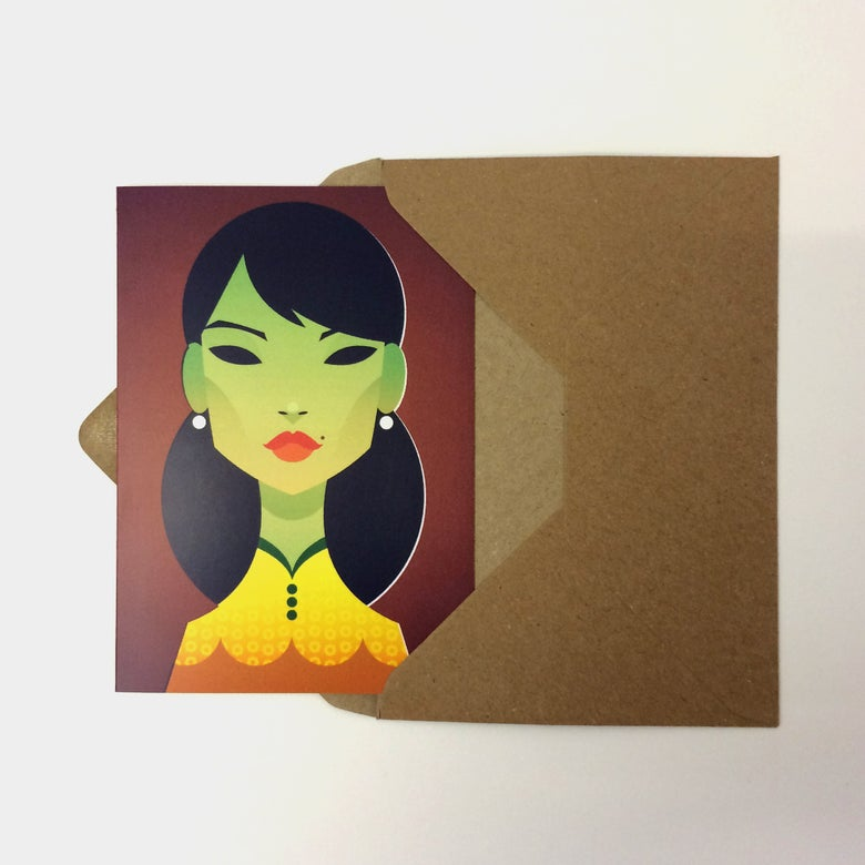 Image of Green Lady Greeting Card