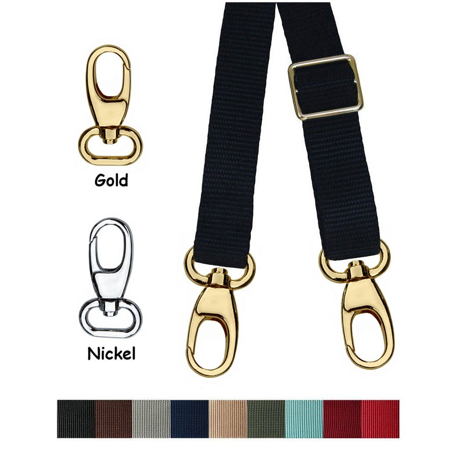 "Image of Nylon Webbing Shoulder Strap - Adjustable - 1"" (inch) Wide - Choose Color, Length & Hook #17B Finish"