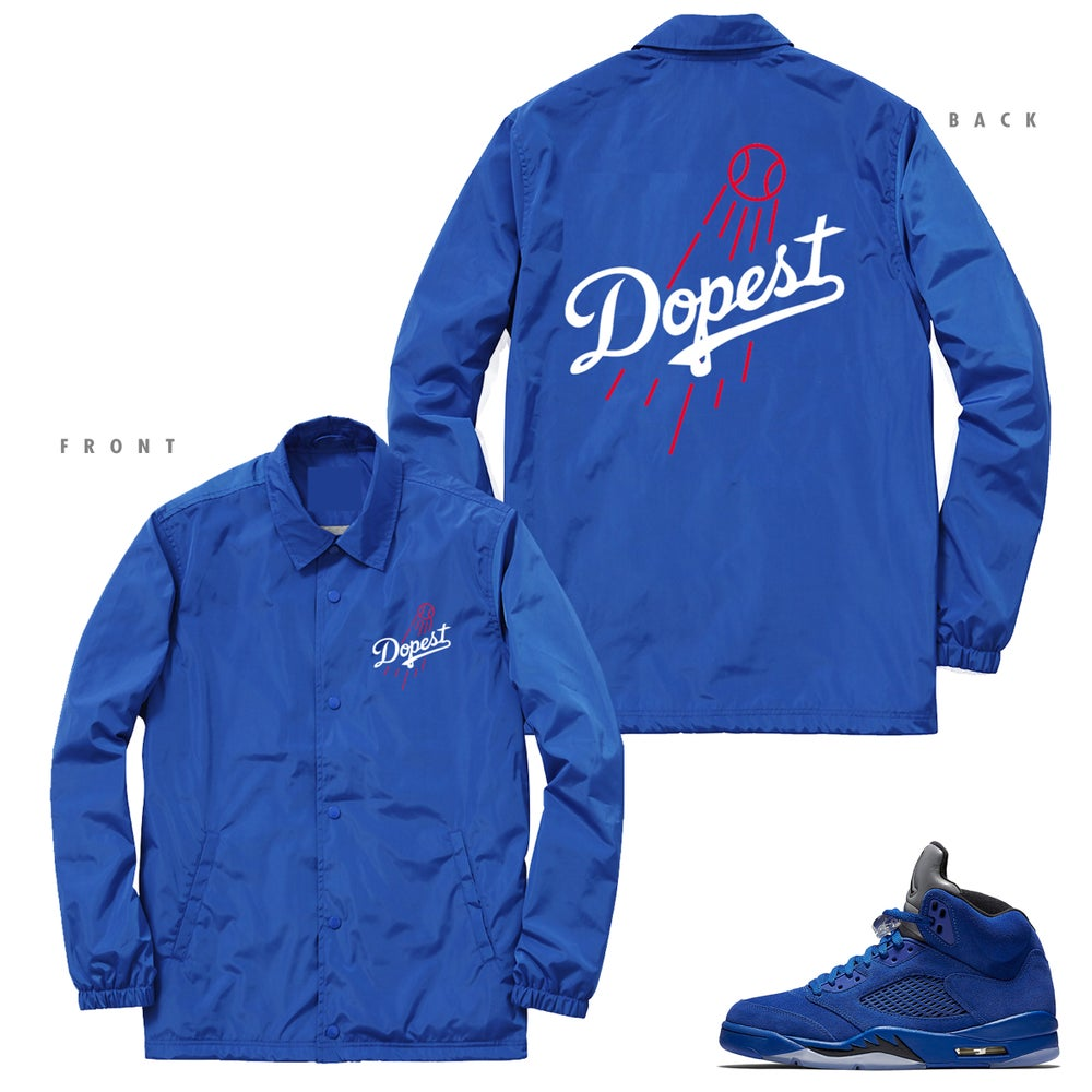 Image of DOPEST DODGERS INSPIRED COACHES JACKET RETRO 5 BLUE SUEDE - ROYAL BLUE