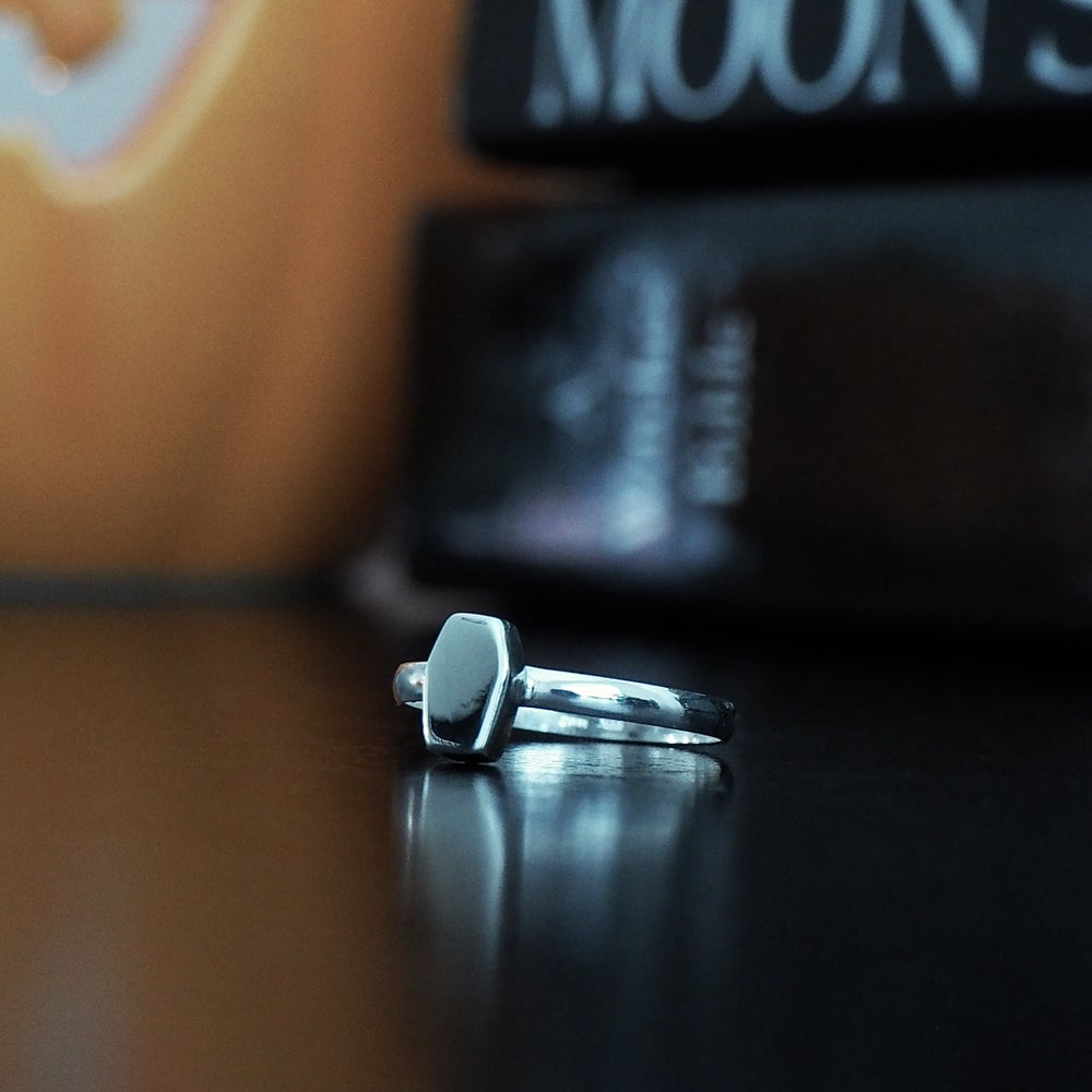 Image of Sterling Silver Dainty Coffin Ring