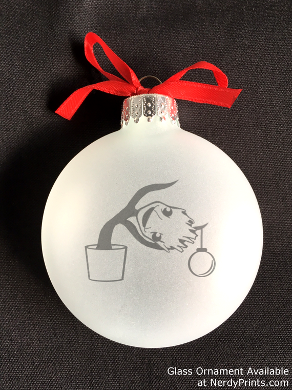 Image of Baby Groot/Charlie Brown Mashup Glass Christmas Ornament