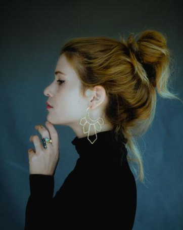 Image of Large Gold Moonbeam Earrings