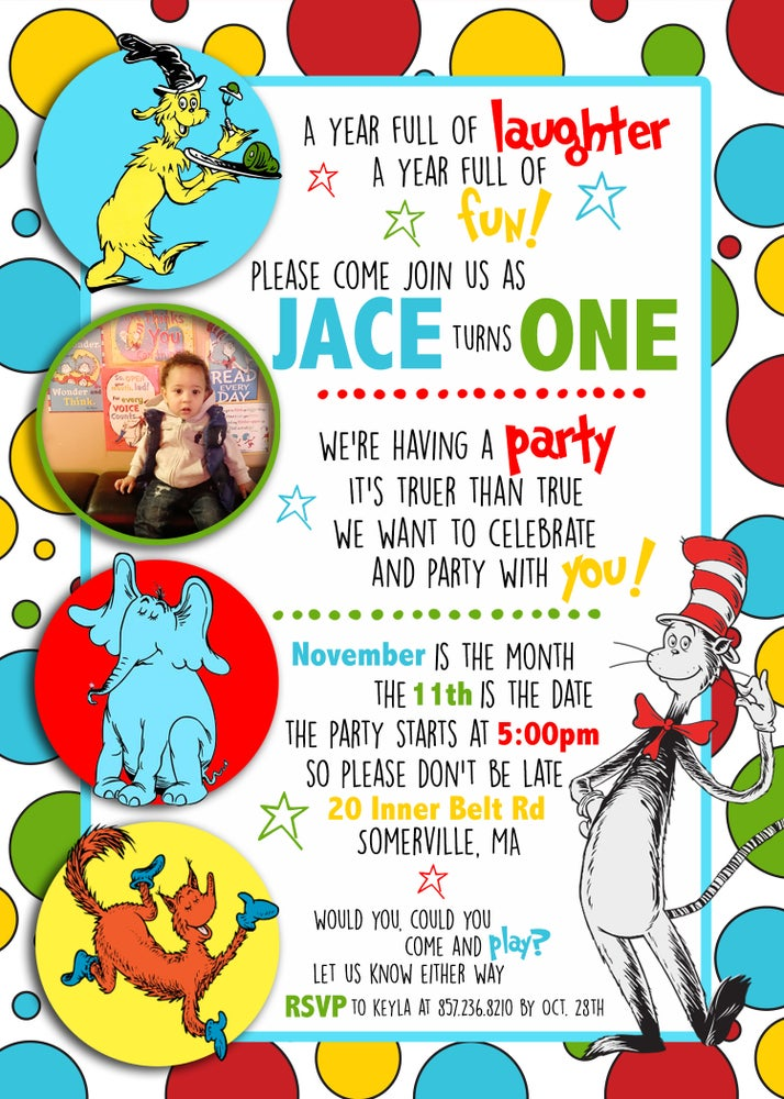 Image of Seuss inspired Birthday Invitations
