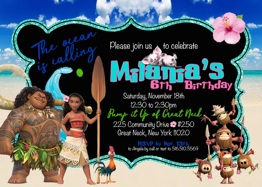 Image of Moana inspired birthday invitations & return address labels