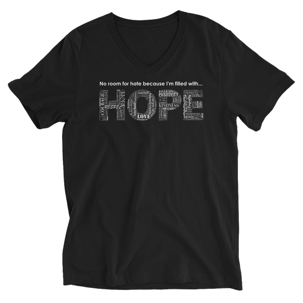 Image of Filled With HOPE Unisex V-Neck Tee in Black or White