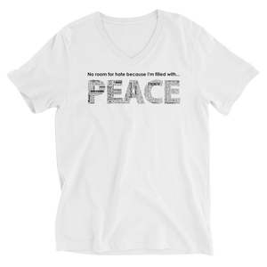Image of Filled With PEACE Unisex V-Neck Tee in Black or White
