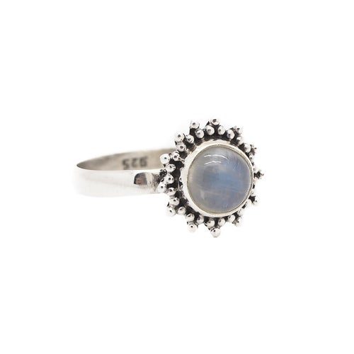 Image of Sterling Silver & Rainbow Moonstone Equinox Ring