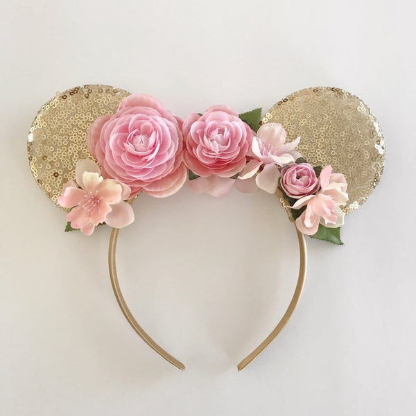 Image of Custom sequin mouse ears with flowers - you choose color combination